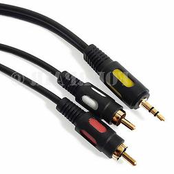 10ft Premium  3.5mm AUX Stereo to 2 RCA Male Audio Y Cable C