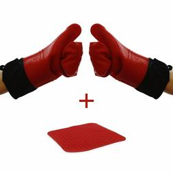 Number 1 Chef's Choice - Extra Long Silicone Oven Mitts With