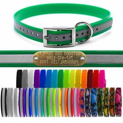 "1"" Extra Long Premium Glow Tuff D Ring Dog Collar Strap with"