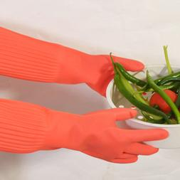 1 Pair Of Extra Long Oil-Proof Rubber Gloves For Household D