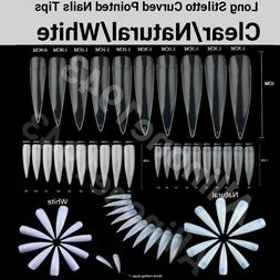100/500Pc Extra Long Stiletto Curved Pointed French Artifici