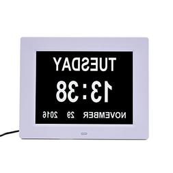 "12 Alarm Options 8"" Digital Calendar Day Memory Loss Clock E"
