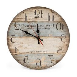 12 Inch Vintage Wall Clock Rustic Decor Silent Non Ticking W