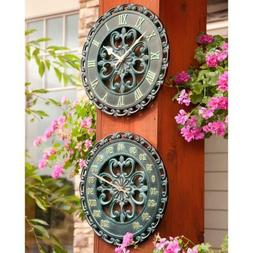 """14"""" Medallion Outdoor Clock & Thermometer Wall Hanging Outsi"""