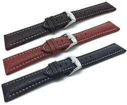 Bandini 18-30mm Extra Long  Leather Watch Band Strap, Black,