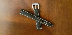 """18mm Black With White Stitch Extra Long 8.5"""" Genuine Leather"""