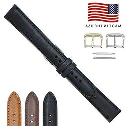 19mm Long Black Montana Genuine Leather Watch Band Strap –