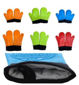 2 Extra Long Silicone Professional Oven Glove Mitts Textured