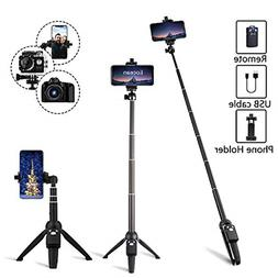 2 in 1 Selfie Stick Tripod with 360 Rotation Phone Clip Moun
