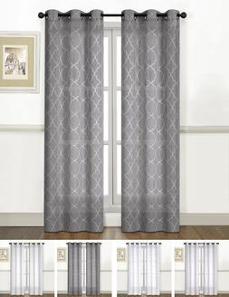 2 Pack: Extra Long Sheer Embroidered Lattice Grommet Curtain