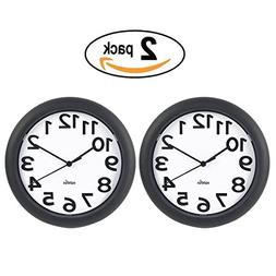 HIPPIH Silent Wall Clock - 10 Inch Battery Operated Round Cl