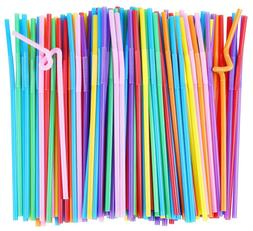 200pack Colorful Extra Long Flexible Drinking Straws Bendy P