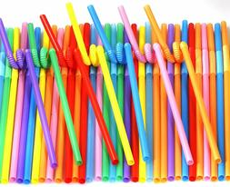 200pack Colorful Extra Long Flexible Drinking Straws Bendy D