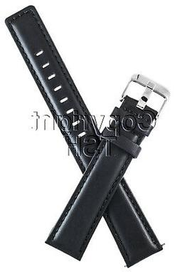 22 mm BLACK LEATHER WATCH BAND PADDED EXTRA LONG XXL