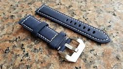22mm Navy Blue XL Extra Long Genuine Leather Calf watch Band