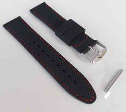22mm XL EXTRA LONG BLACK RUBBER WITH RED STITCHES WATCH BAND