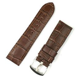 22MM Brown Leather 'Gator Watch Band Strap