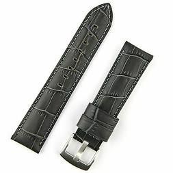 22mm Gray Leather 'Gator Watch Band Strap