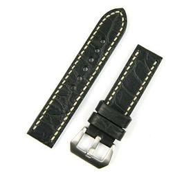 22MM Handsewn Watch Band Strap in Black Gator with Ivory-sti