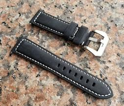 22mm XL EXTRA LONG BLACK CALF WHITE STITCHES GENUINE LEATHER