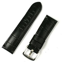 24mm Watch Band Strap in Black Leather 'Gator
