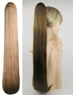 """25"""" EXTRA LONG STRAIGHT HAIR PONYTAIL HAIRPIECE CLAW CLIP DR"""