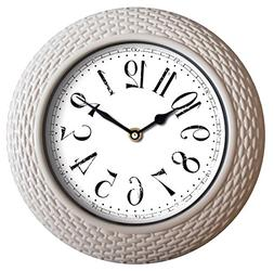 """Wee's Beyond 2830-WHT Woven-Like Wall Clock, 14"""""""