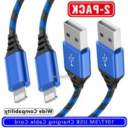2x 10ft/3m Long Charger Cable Charging Cord for iPhone 5 6 7