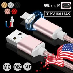 3~10FT 2.4A Fast Charging Magnetic Micro USB Charger Transfe