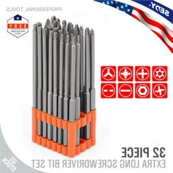 32pc Extra Long Security Bit Set Tamper Proof Torx Star Tri