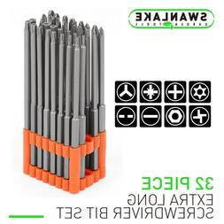 32pc Extra Long Security Bit Set Tamper Proof Torx Star 6 In