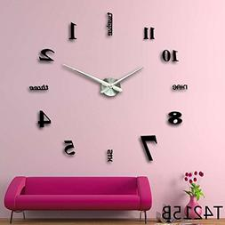 3D DIY Wall Clock, Timelike 1M Modern Frameless Large 3D DIY