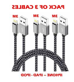 3M Extra Long Strong Braided Charger Charging Cable iPhone
