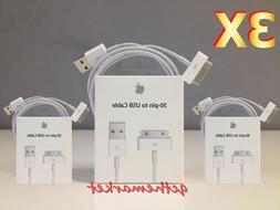 3X Original Genuine Apple iPhone 4 4S 3GS 3G 30 Pin USB Sync