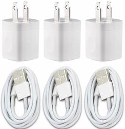 3X White Home Wall AC Charger for iPhone 7 iPhone X 8  Data