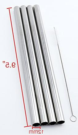 "4 Stainless Steel Straws Big Straw Extra Wide 1/2"" x 9.5"" Lo"