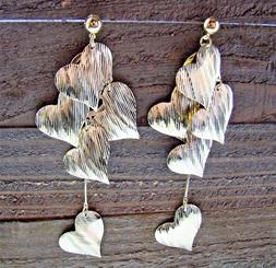 "5"" Extra Long Earrings Multi Heart Chandelier Statement Fash"