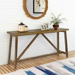 Tribesigns 59 Inches Solid Wood Extra Long Rustic Console Ta