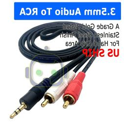 5ft  3.5mm AUX Stereo to 2 RCA Male Audio Y Cable Adapter Co