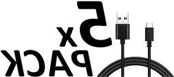 5X Type-C 6.6 Ft Extra Long Data Sync Fast Charger Charging
