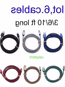 6-Pc Apple Certified Lightning Charging Cable Sync for iPhon