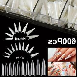 600Pc Extra Long Stiletto Nail Tips Half Cover False Fake Ac
