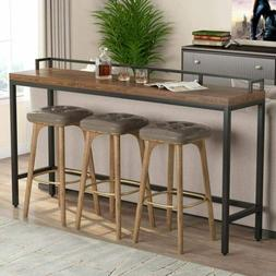 """70.9"""" Extra Long Solid Wood Console Table, Industrial Narrow"""