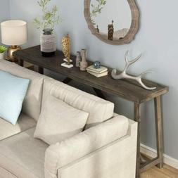 """70.9"""" Solid Wood Extra Long Sofa Table, Rustic Console Table"""