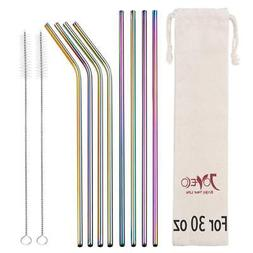 JOYECO 8 Pcs Stainless Steel Straws Drinking Reusable, Extra