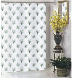 """84"""" Extra Long Shower Curtain Fabric White Charcoal Gray Tre"""