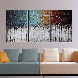 ARTLAND Hand-Painted Color Forest 3-Piece Gallery-Wrapped Ab
