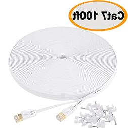 Cat 7 Ethernet Cable 100 ft Flat White – Shielded  Slim Lo
