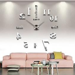 CoZroom Large Silver 3D Frameless Wall Clock Stickers DIY Wa