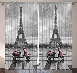 Grey Curtains Eiffel Tower Decor by Ambesonne, Paris Scene G